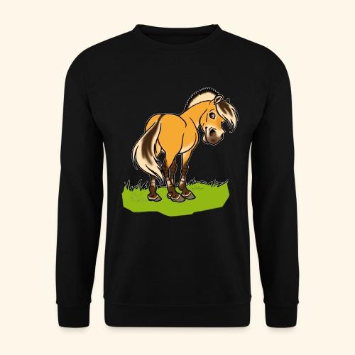 Freundliches Fjordpferd (Ohne Text) Weisse Umrisse - Sweat-shirt Homme