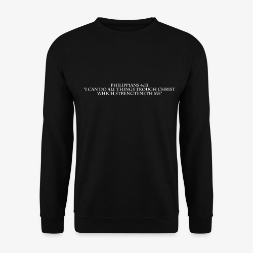 Philippians 4:13 white lettered - Unisex sweater