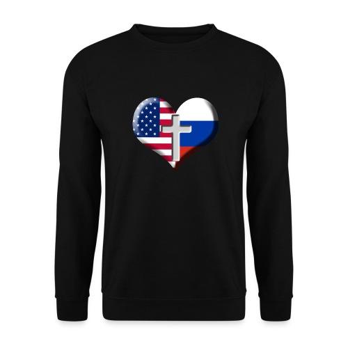 USA and Russia Heart with Cross - Men's Sweatshirt