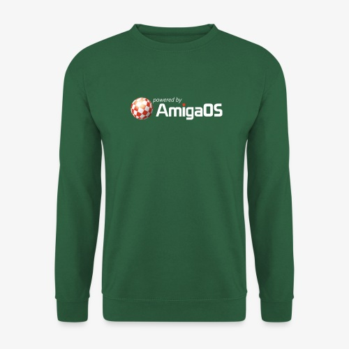 PoweredByAmigaOS white - Unisex Sweatshirt