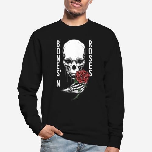 Knochen Rosen Schädel - Unisex Pullover