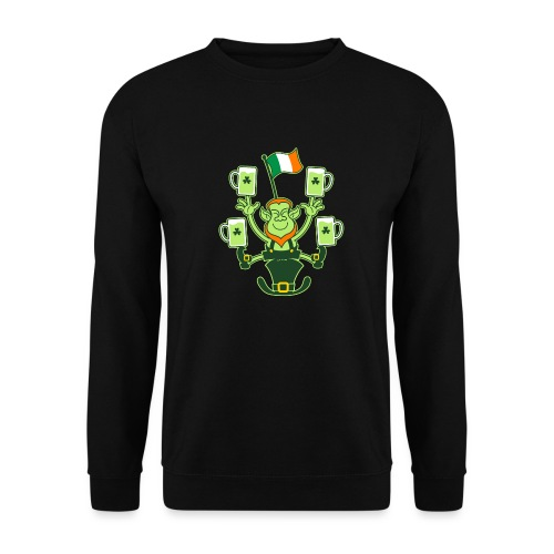 Leprechaun Juggling Beers and Irish Flag - Men's Sweatshirt