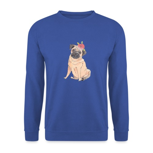 Pug with flower - Unisex sweater