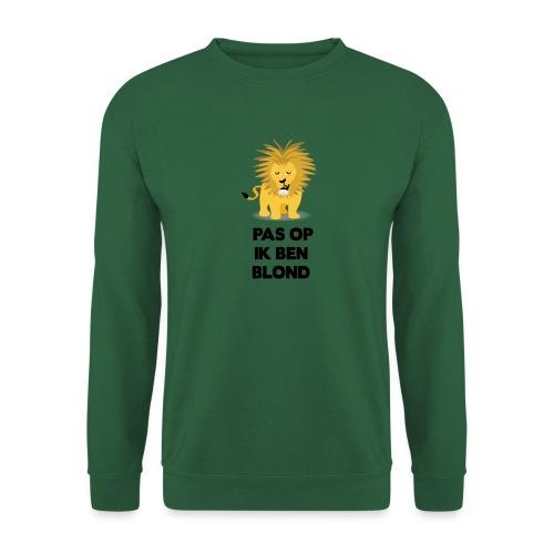 Pas op ik ben blond een cartoon van blonde leeuw - Unisex sweater