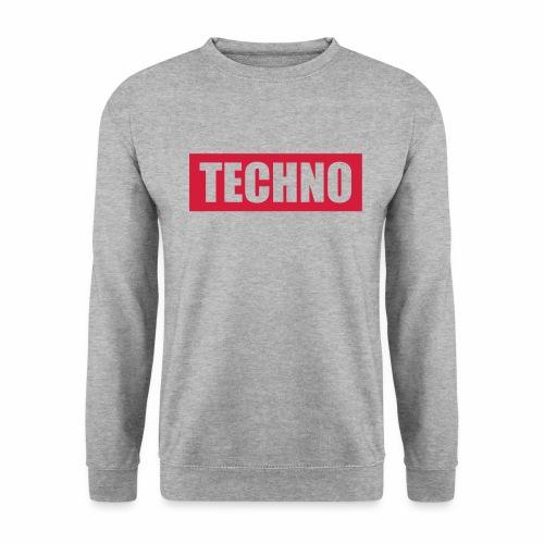 Techno Roter Balken Schriftzug Red Stripes Text - Männer Pullover