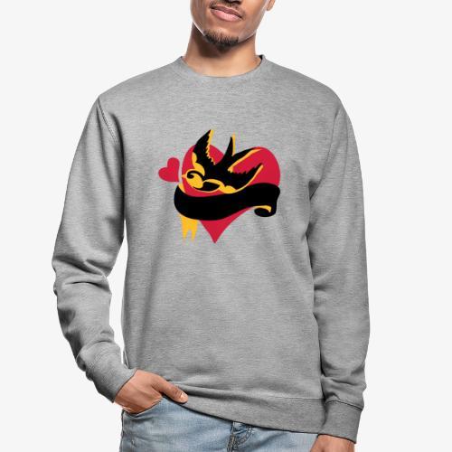 retro tattoo bird with heart - Unisex Sweatshirt