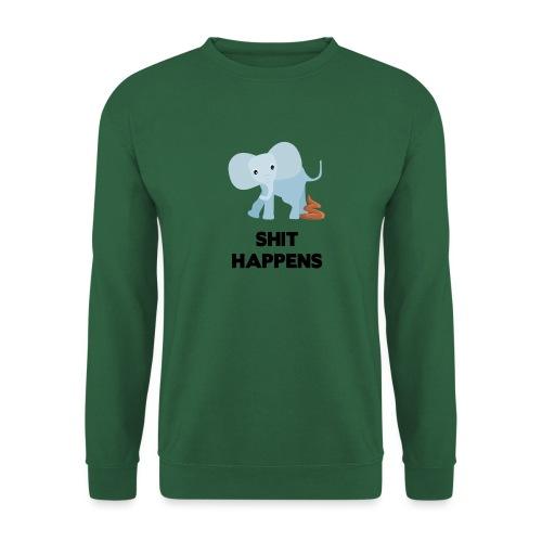 olifant met drol shit happens poep schaamte - Unisex sweater