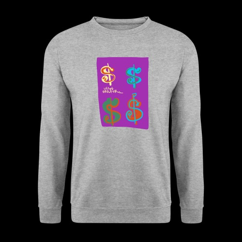 4 dollars paarse achtergrond - Unisex sweater