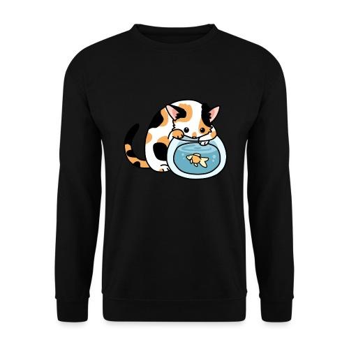 Katze mit Fisch im Glas - Unisex Pullover