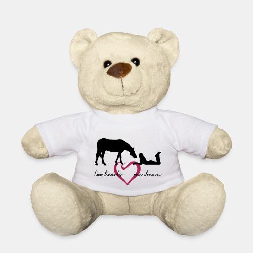 two hearts one dream liegendes Mädchen Pferd - Teddy