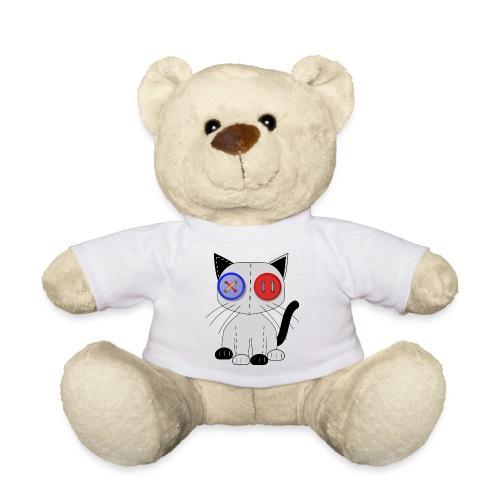tygkatt av grått tyg med knappögon - Teddy Bear