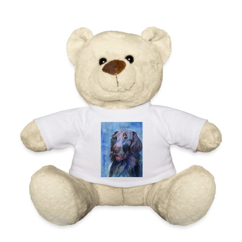 flatcoated retriever - watercolor - Teddybjørn