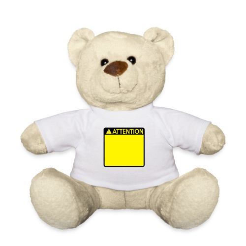 Attention Sign (2 colour) - Teddy Bear