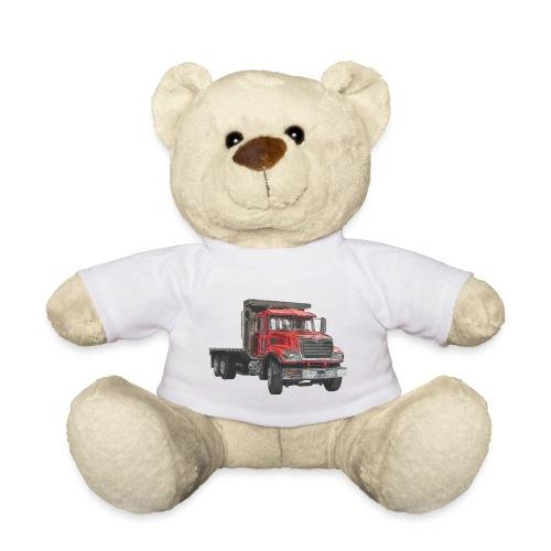 Flat Truck 3-axle - Red - Teddy Bear