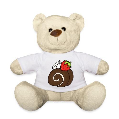 Biskuitrolle Schokolade mit Sahne und Erdbeere - Teddy