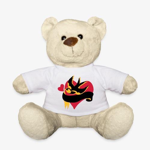 retro tattoo bird with heart - Teddy Bear