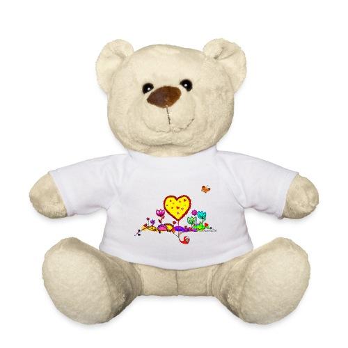 Blumengruß mit Herz - Teddy