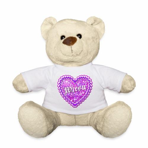 41 Lebkuchenherz Wiesn Pink Glitzer Glamour Herz - Teddy