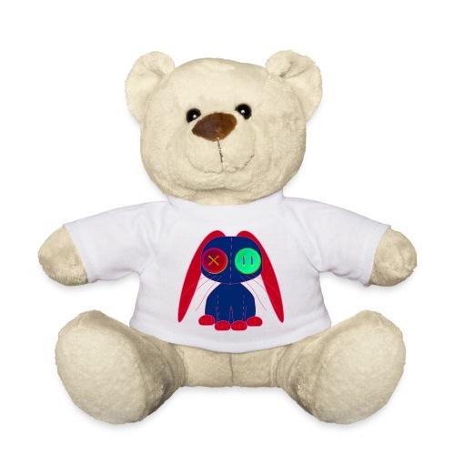 tygkanin av märkblått och rött tyg och knappögon - Teddy Bear