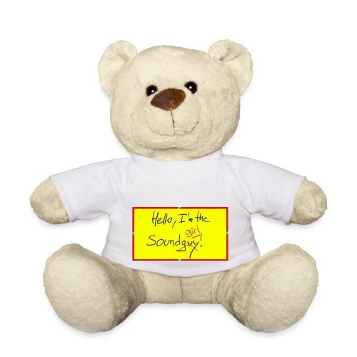 hello, I am the sound girl - yellow sign - Teddy Bear