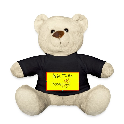 hello, I am the sound girl - yellow sign - Teddy Bear