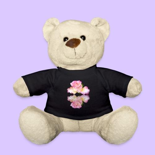 pinke Rose mit Regentropfen im Spiegel, rosa Rosen - Teddy