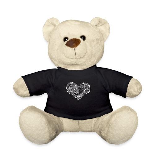 White Leaf Heart Mandala - Teddy Bear