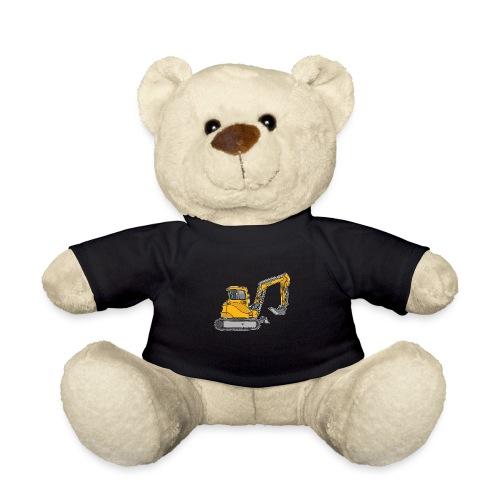 BAGGER, gelbe Baumaschine mit Schaufel und Ketten - Teddy