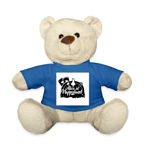 Alice in Nappyland TypographyWhite with background - Teddy Bear