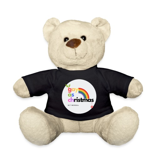 Gay as Christmas but Minimal Circle with Rainbow - Teddy Bear