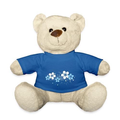 white and blue floral print - Miś w koszulce