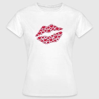 Kiss, lips, hearts, Valentines Day, Love, Kissing - Naisten t-paita