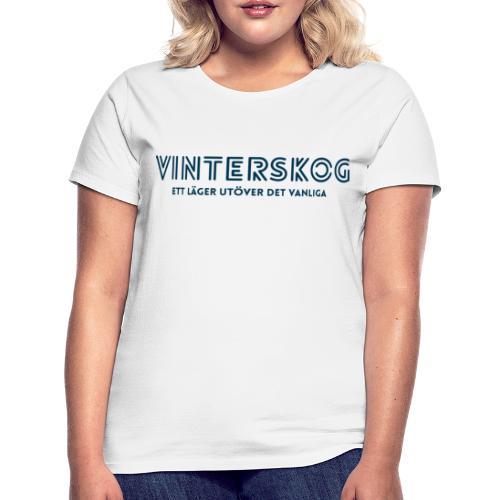 Vinterskog med blått tryck - T-shirt dam