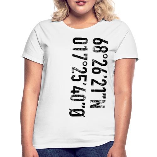 Narvik koordinater (fra Det norske plagg) - T-skjorte for kvinner