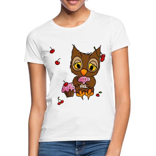 Eule mit Cupcakes - Frauen T-Shirt