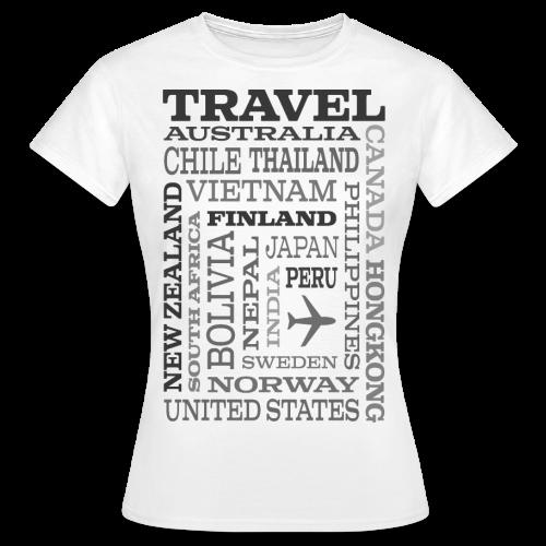 Travel Places Gray design - Naisten t-paita