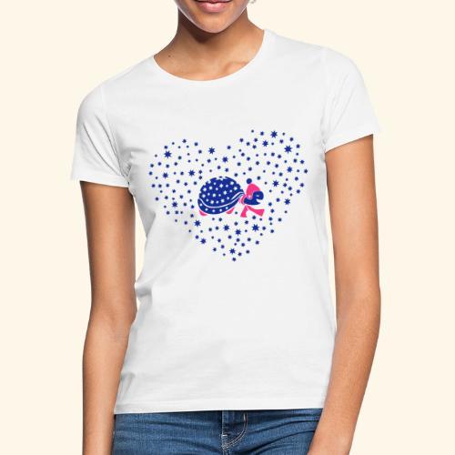 Schildkröte im Schneeherz - Frauen T-Shirt