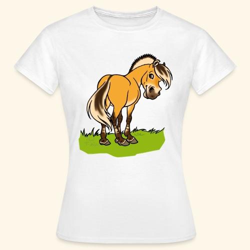 Freundliches Fjordpferd (Ohne Text) Weisse Umrisse - T-shirt Femme