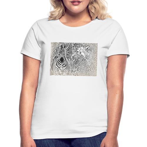 Zebra und Gepard und Musterhintergrund - Frauen T-Shirt