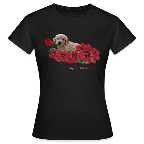 Cucciolo Golden Retriever con Rosa in Bocca - Maglietta da donna