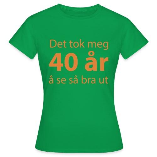 det tok meg 40 år å se så bra ut Morsom t-skjorte - T-skjorte for kvinner