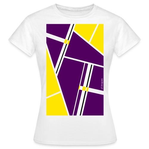 d shapes block giallo viola - Maglietta da donna