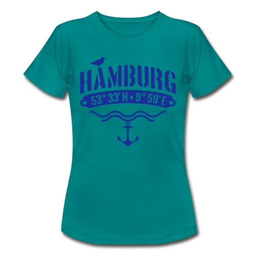Hamburg Koordinaten Anker Möwe Längengrad - Frauen T-Shirt