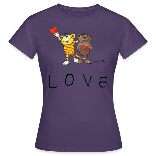 Janosch LOVE Schiftzug Tiger und Bär - Frauen T-Shirt