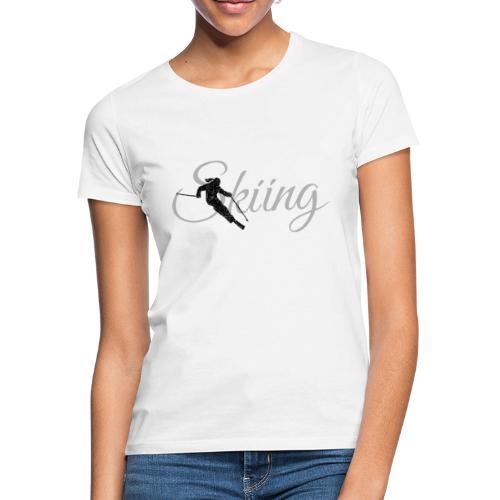 Skiing Skifahrerin (Grau) Wintersport Apres-Ski - Frauen T-Shirt
