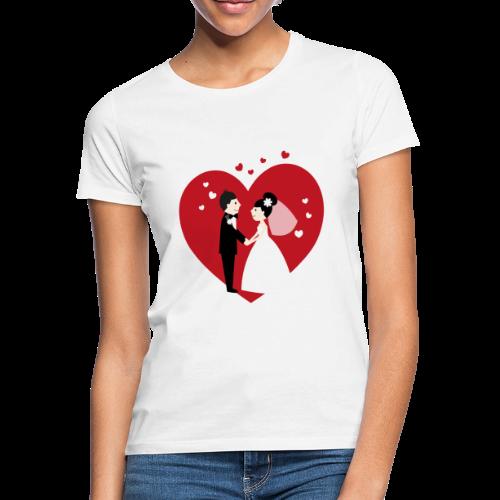 Hochzeitspaar im Comic Stil mit Rotem Herz - Frauen T-Shirt
