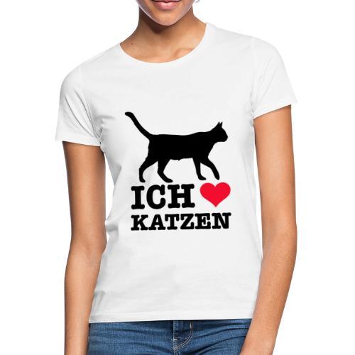 Ich liebe Katzen mit Katzen-Silhouette - Frauen T-Shirt