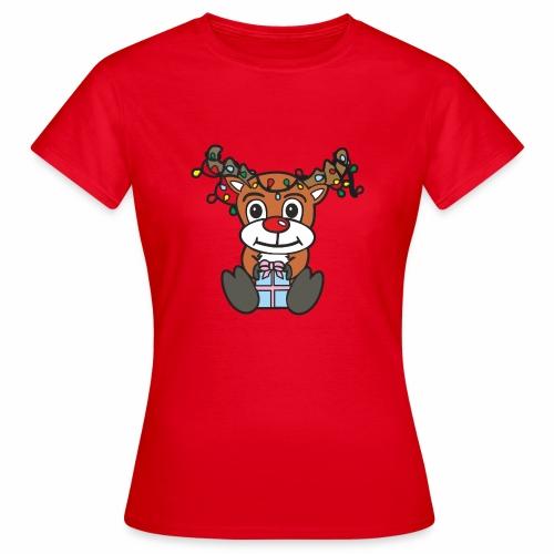 Rentier mit Lichterkette - Frauen T-Shirt
