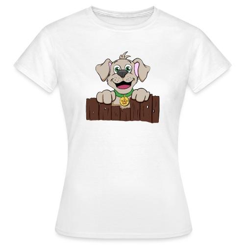 Kleiner Hund schaut über Zaun - Frauen T-Shirt