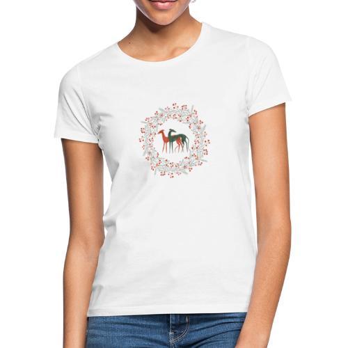 Windhunde im Winterkranz - Frauen T-Shirt